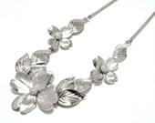 1950s Sculptural Sterling Silver Dogwood Necklace