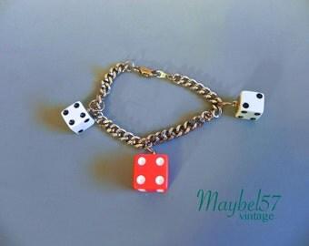 Vintage Bakelite style Red Dice Bracelet - 50s Style Rockabilly Lucky Dice Charm Bracelet