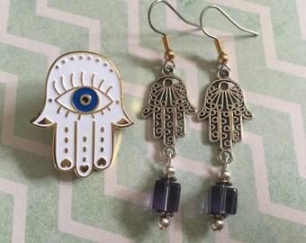 Hand Of Hamsa Enamel Pin with Earrings