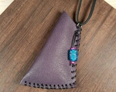 Plum purple leather pouch - medicine bag amulet pouch - small pouch necklace - leather necklace - unique leather accessories - be unusual