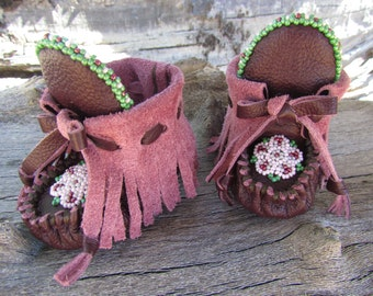 """Newborn Moccasins By Desi, Burgundy Elk Leather, 3"""" long, Infant, Girl, Flower Beaded, Holiday Outfit shoes, Christmas, Baby, Tribal, Aztec"""