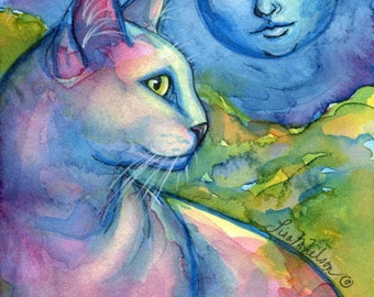 White Cat Mother Moon Fine Art Giclee Print of my Original Painting