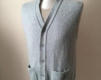 Vintage Men's 70's Jantzen, Sweater Vest, Sleeveless, Light Blue, Wool, Button Up (M)