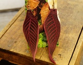 "Earrings 4"" Redwood Leather Leaf, Woodsy, Leaves, Autumn, Fall, Unique, Handmade, Lightweight, Soft, Dangle, Woodland"
