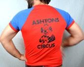 Vintage 1980s AWESOME Ashton Circus Clown Red Blue Tshirt Tee Shirt