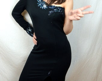 Best Cocktail Dress - Vintage Black Sequined One Shoulder Spandex Fitted Sexy Maxi