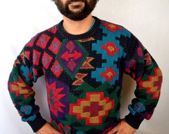 Awesome 90s Vintage Rainbow Knit Geometric Winter Sweater