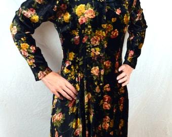 Vintage 80s 90s Floral Velvet Maxi Dress - Nostalgia