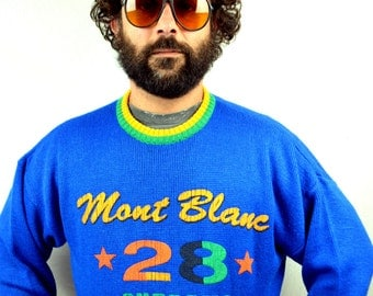 Vintage 80s Oversized Blue Winter Mount Blanc Sweater - Made in Italy