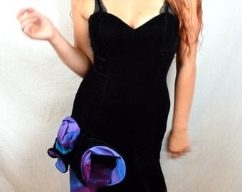 Super 90s Black Velvet and Purple Iridescent Ruffled Party Dress