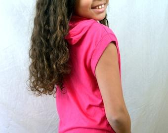 Vintage Pink 1980s Sleeveless Summer Hoodie Top