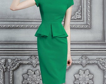 ruffle waist dress pencil custom made to measure ALL SIZES classic