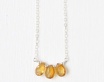 Sterling Silver Citrine Necklace / Three Stone Citrine Necklace / Small Yellow Gemstone Necklace / November Birthstone Jewelry