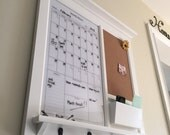 Framed Furniture Dry Erase Perpetual Calendar and Bulletin Board with Mail Pocket Organizer Storage Shelf and Keyhooks White Dry Erase