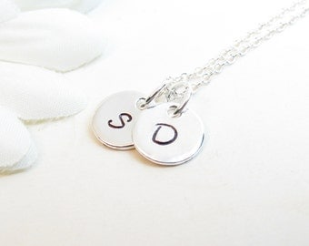 Initial Discs Necklace // Sterling Silver Discs Necklace // Two Small Discs Necklace // Silver Initial Necklace // Personalized Necklace