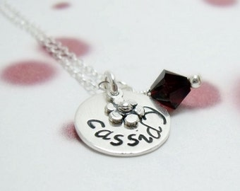 Personalized Silver Necklace - Sterling Silver Necklace - Custom Name Necklace - Silver Necklace - Hand Stamped Necklace - Children Jewelry