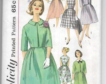 Uncut, Misses Size 14, Vintage 1950s Sewing Pattern, Woman Dress, Bolero Jacket, Simplicity 4339, full Pleated Skirt, Detachable Collar