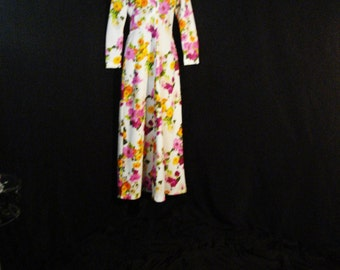 Vintage Mod 60s Floral Tropical Hawaiian It's Better Dress Long Maxi M