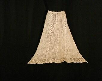 Crochet Cotton Boho Hippie Skirt Ivory South Pacific Apparel Honolulu Mid Calf Skirt ML