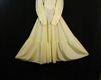 1960s Vintage Dress Boho Hippie Yellow Peasant Prairie Dress Long Full ML