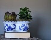 Blue Ceramic Double Planter - Floral Design