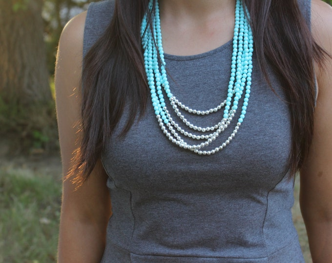 Sky Blue and Silver Layered Necklace.