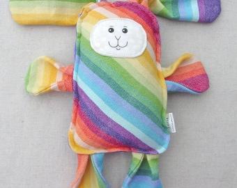 Rainbow Wrap Scrap Bunny - Girasol Calico Sunshine Radiating Rainbow Wrap Scrap Bunny Pillow Plush - Hand Drawn Face