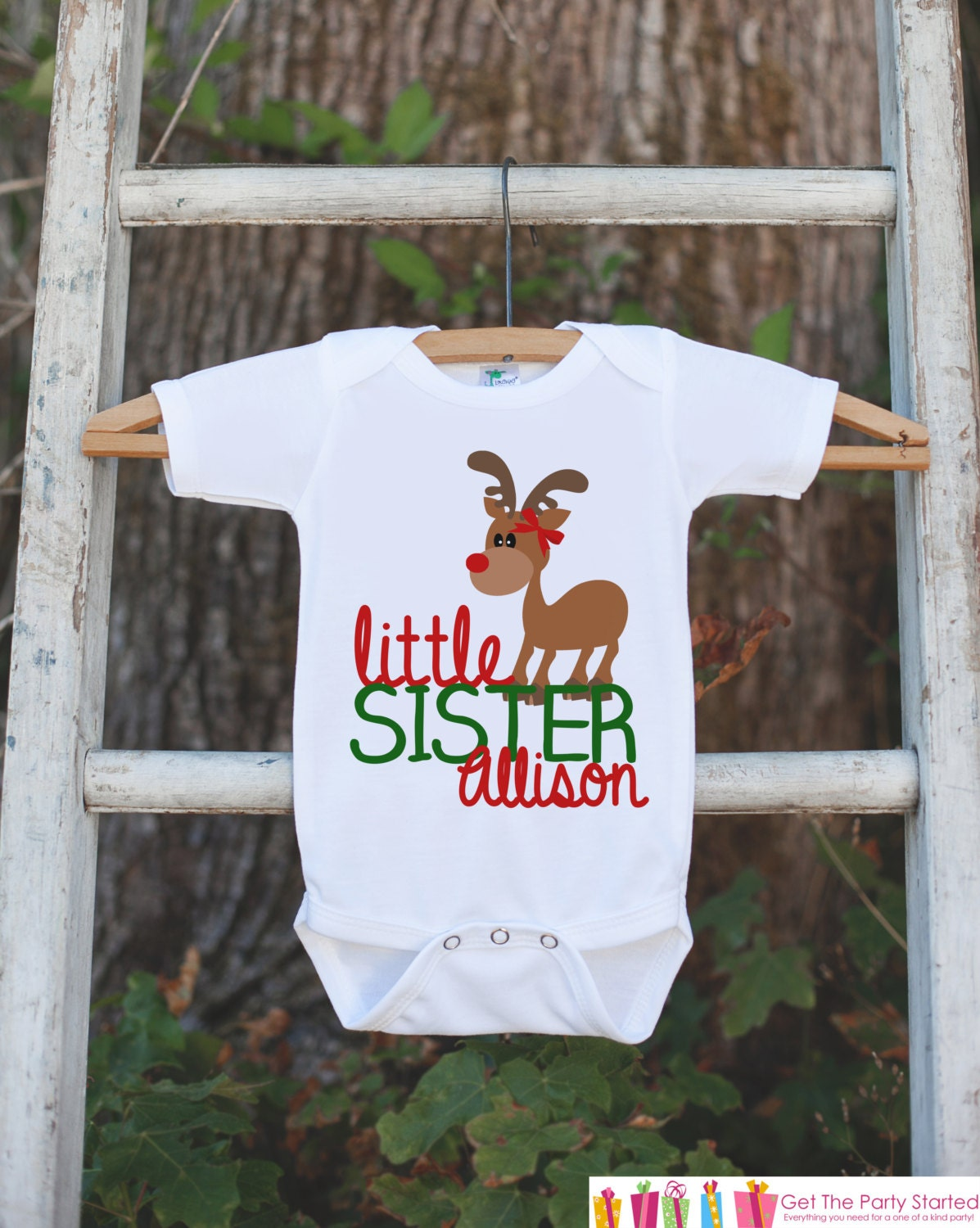 Christmas Little Sister Shirt - Holiday Little Sister Onepiece or ...