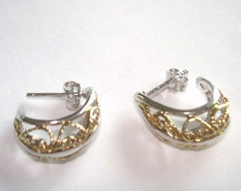 925 Sterling  with Gold Color Stud  Earrings