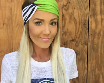 Seattle Seahawks Striped Vintage Style Turban Headband || Hair Band Accessory Knit Stripes Workout Yoga Fashion Navy Blue Green Hawks Scarf