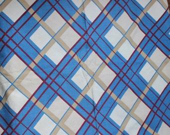 Barkcloth 3 yards Puritan Print Fabric Tartan Design Blue Mauve Tan Plaid Unused Yardage 1940s VINTAGE by Plantdreaming