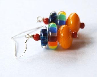Rainbow Earrings, Bright Colorful Earrings, Striped Earrings, Lampwork Jewelry, Glass Bead Earrings, Whimsical Earrings