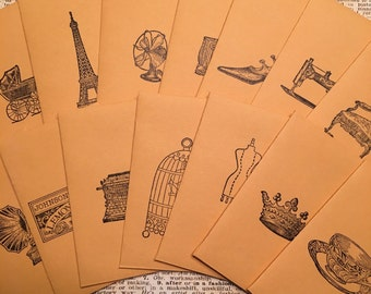 S102 - Assorted Hand Stamped Coin Envelopes (Lot of 28) - Unique Stationery, Wedding Favors