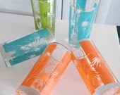 Vintage Mid Century Modern Set of Drinking Glasses in Turquoise Orange and Green