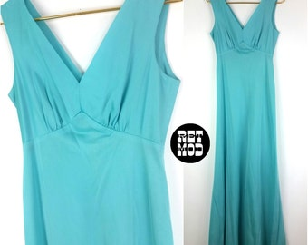 Pretty Vintage 70s Turquoise Prom Party Disco Maxi Dress!