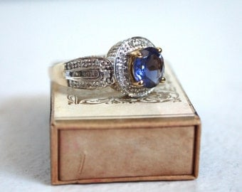 SALE was 1100 now 399 // Vintage 10 K Gold / Diamond and Tourmaline Cocktail Ring // Vintage Purple Stone Ring