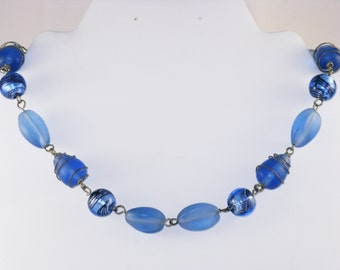 Vintage Blue Foiled Art Glass and Satin Glass Necklace (N-4-1)