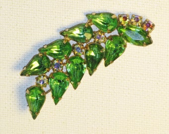 Vintage Green and AB Rhinestone Leaf Brooch Pin (B-1-2)
