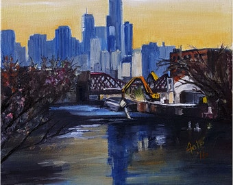 Plein Air Painting of West Lincoln Park, Chicago - 12x16in Original Oil Painting