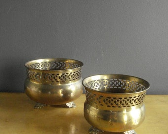 Brass with Class - Set of Two Brass Planters or Urns with Feet
