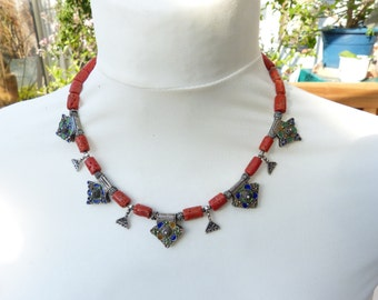 Antique Coral Necklace with antique Tiznit  Silver Enamel Cross Pendants, BERBER JEWELLERY, MOROCCO, statement necklace