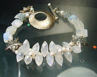 Moonstone Bracelet, Hill Tribe Bracelet, Heirloom Bracelet, Beach Jewelry, Goddess Jewelry, Statement Bracelet, Beach Jewelry, Ocean Empress