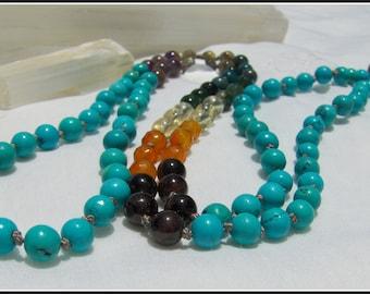 Turquoise Mala, Chakra Mala, Rainbow Mala, Chakra Prayer Beads, Rainbow Prayer Beads