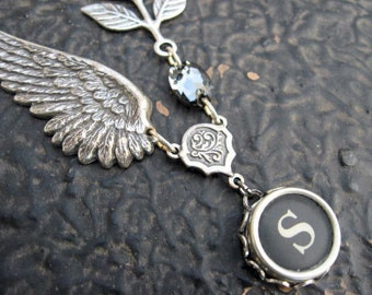 Typewriter Jewelry - Typewriter Key Necklace - Letter S with Wings and leaves