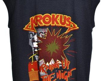 Vintage 80s 1986 KROKUS Burning Up the Night Rock Concert T SHIRT sz L RARE!