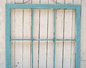 Old Window, Rustic Window Frame, Aqua Window, Wall Decor, Farmhouse Decor, Shabby Cottage, Prop, Mantel Decor, Old Window, Large Window