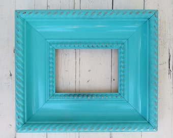 Turquoise Frame, Shabby Cottage Frame, Beach Frame, Cottage Decor, Wood Frame, 5x7 Frame, Wall Decor, Weathered Frame, Picture Frame, Beachy