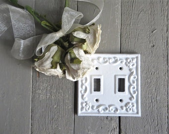 French Fleur De Lis Light Switch Cover, Light Plate, Shabby and Chic, White Fixture, Fleur De lis Decor, French Country, Cottage Chic