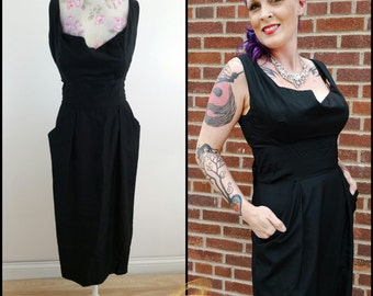 SALE 50s Alfred Shaheen Dress, Vintage 1950's Black Silk Cocktail Party, THE Little Black Dress, Bombshell Pin Up Viva