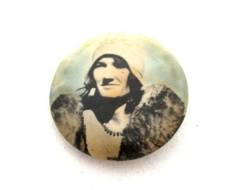 Photo Pin Hand Tinted Photographic Image FLAPPER LADY in FUR Coat Pin Back Pinback Button